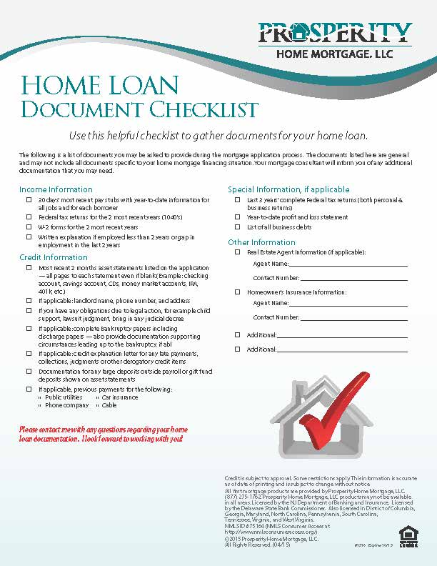 Home Loan Document Checklist  Prosperity Home Mortgage Llc