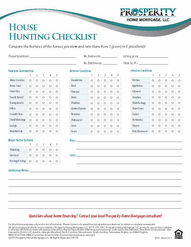 House hunting checklist prosperity home mortgage llc for Building a home checklist